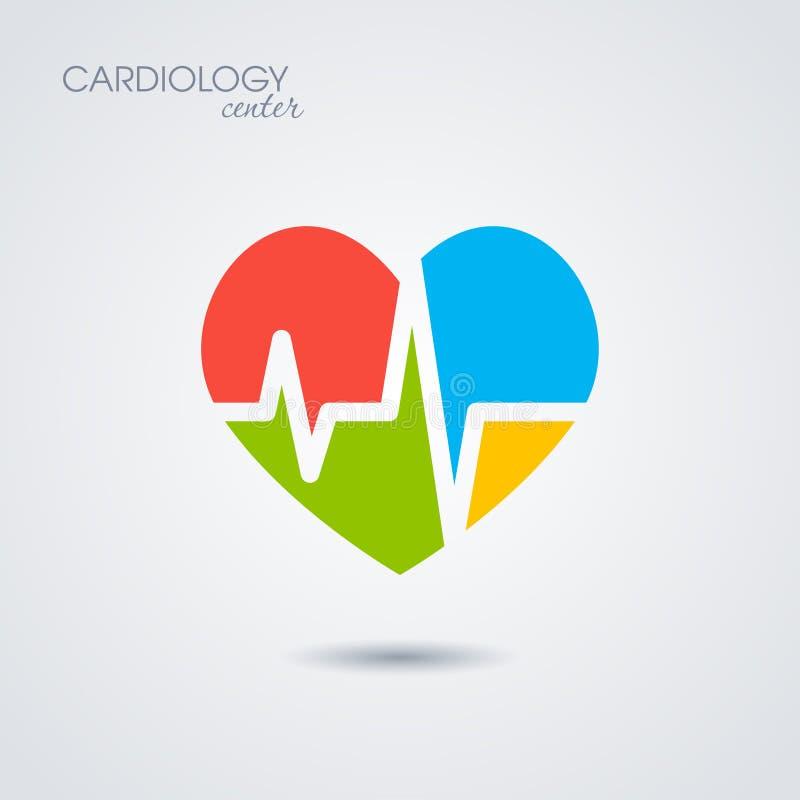 Symbol von Kardiologie lokalisiert auf weißem Hintergrund stock abbildung