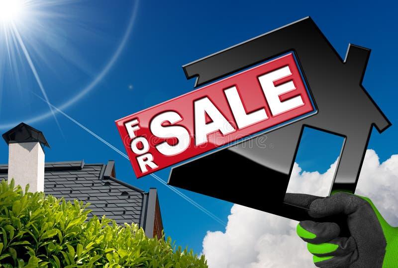 Symbol von vorbildlichen House For Sale lizenzfreie stockfotos