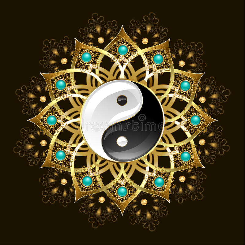 Symbol von yin Yang-Mandala stock abbildung