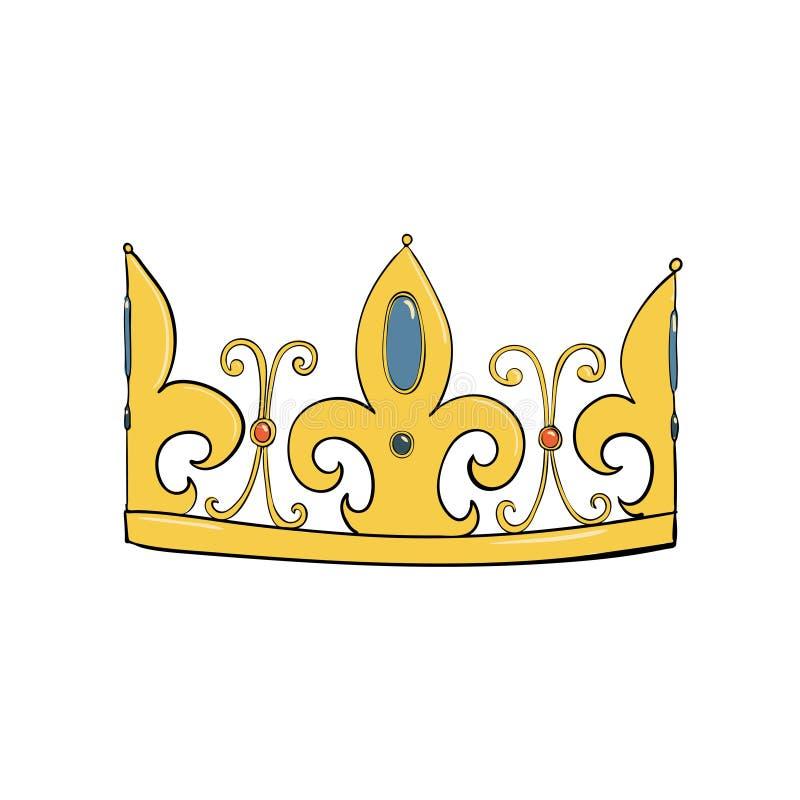 Symbol władza Headpiece królewiątko Ikony oznaczania insygnia i sukces korony złoto operla czerwonych rubiny royalty ilustracja