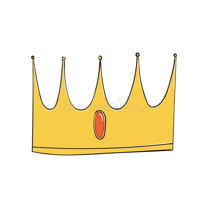 Symbol władza Headpiece królewiątko Ikony oznaczania insygnia i sukces korony złoto operla czerwonych rubiny ilustracji
