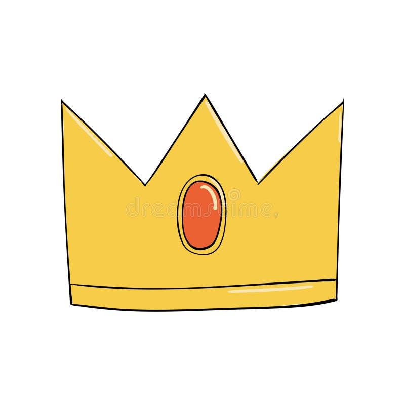 Symbol władza Headpiece królewiątko Ikony oznaczania insygnia i sukces korony złoto operla czerwonych rubiny ilustracja wektor