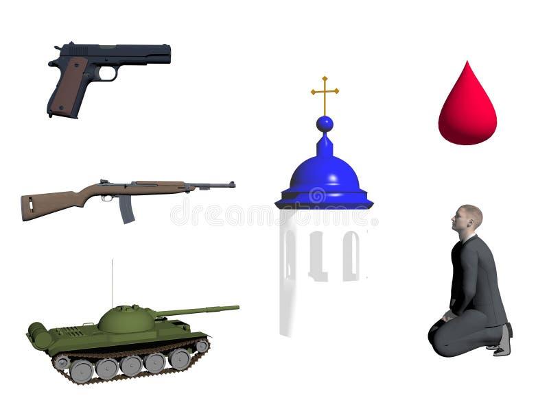 Symbol Of War And Religion 3d Render Stock Illustration