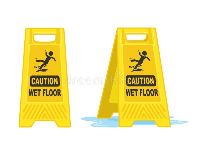Caution Wet Floor Sign  Board Vector Illustration royalty free illustration