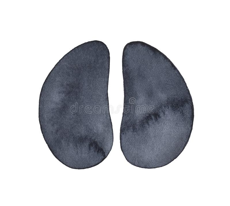 Cow hoof print watercolour sketch. stock photos