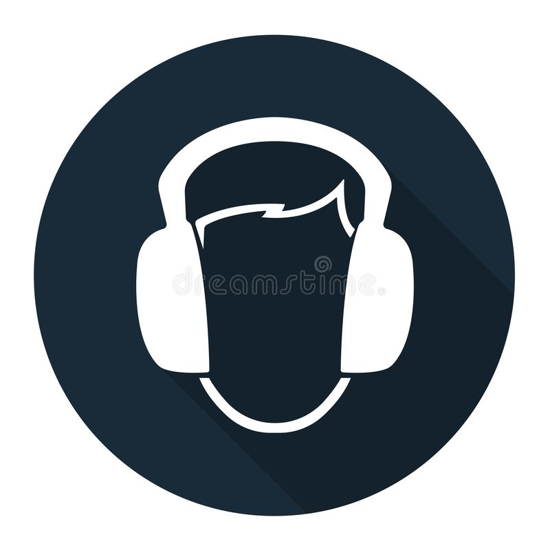 Symbol Wear Ear muff sign on black background,Vector llustration stock illustration