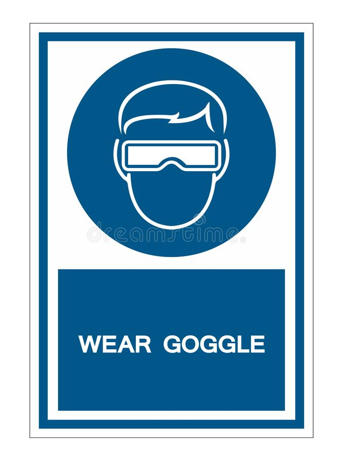 Symbol wear goggles Sign Isolate On White Background,Vector Illustration EPS.10. Glasses, safety, technology, equipment, woman, protection, modern, design royalty free illustration