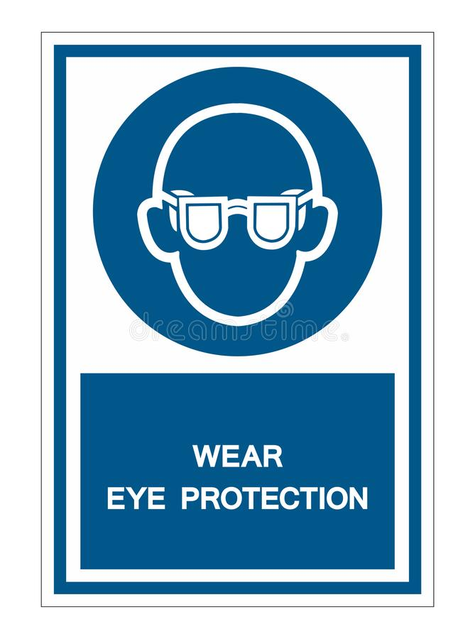 Symbol Wear Safety Glasses Sign Isolate On White Background,Vector Illustration. Work, worker, protective, protection, workshop, man, male, goggles, tool stock illustration