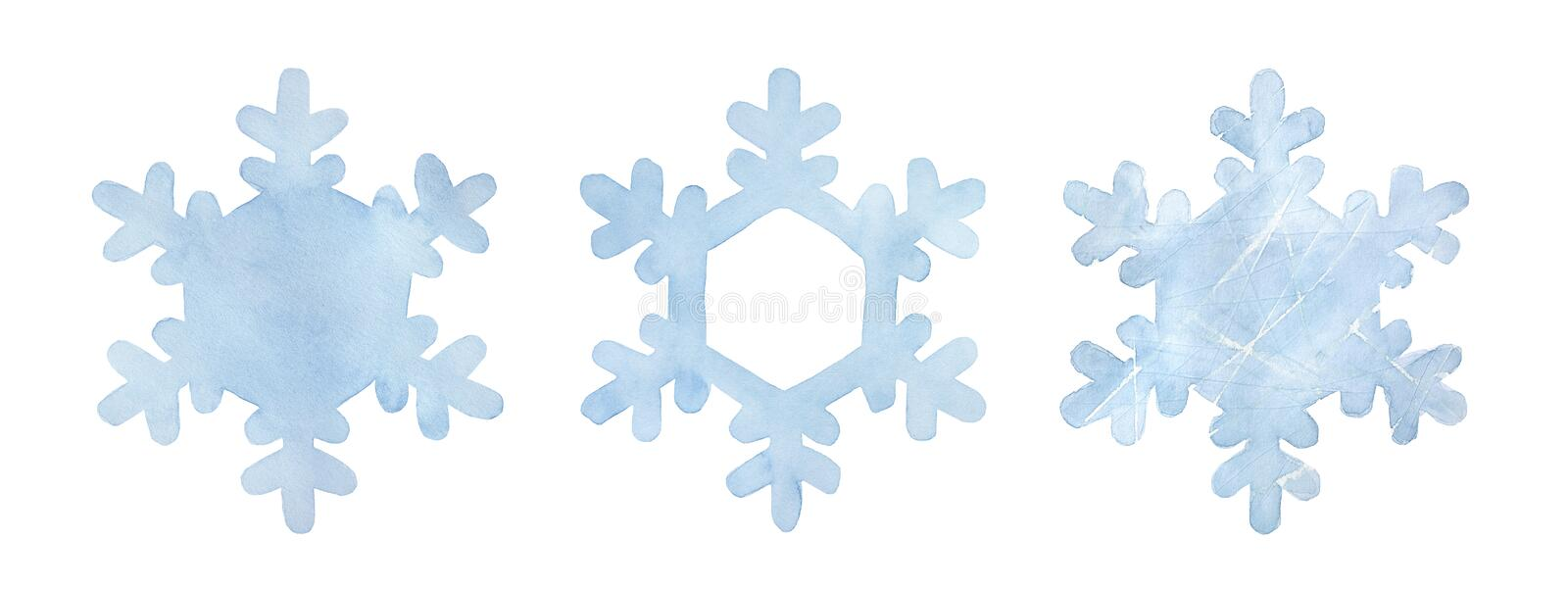 Light blue snowflake collection. Three variations of one shape. Symbol of winter, Xmas, New Year holidays. Hand painted water color drawing on white, cut out stock illustration