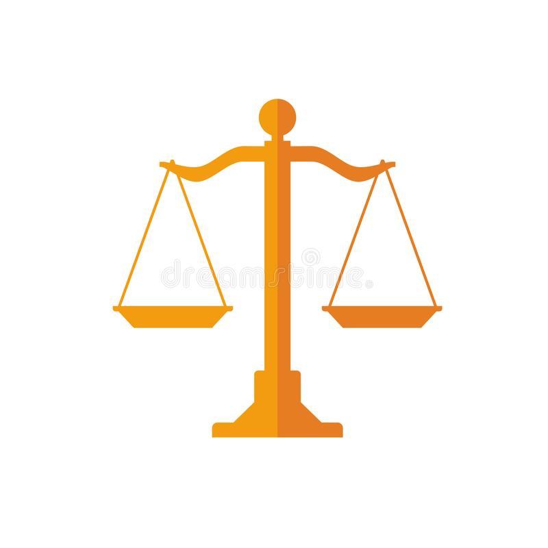 The symbol of wood scales for law, justice, and equality in a flat and simple design stock illustration