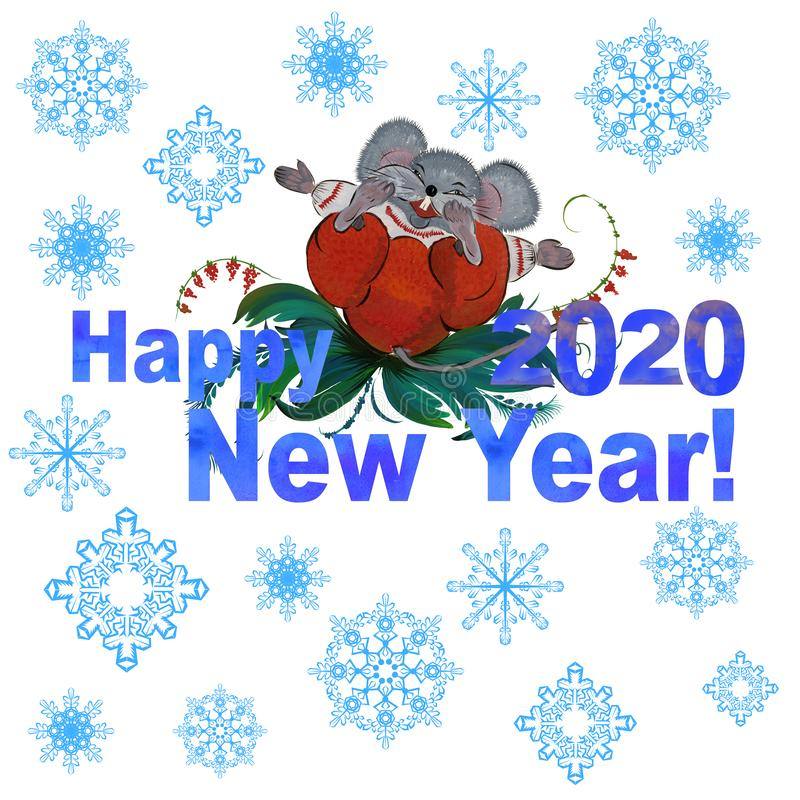 Symbol of the Year 2020 white metal rat against Chinese horoscope. Happy New Year. stock photography