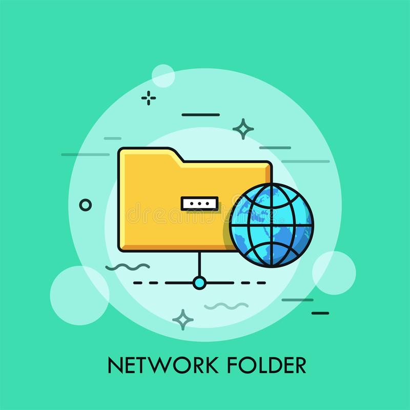 Symbol of yellow folder and globe. Concept of information sharing, directory structure, schematic organization of global royalty free illustration