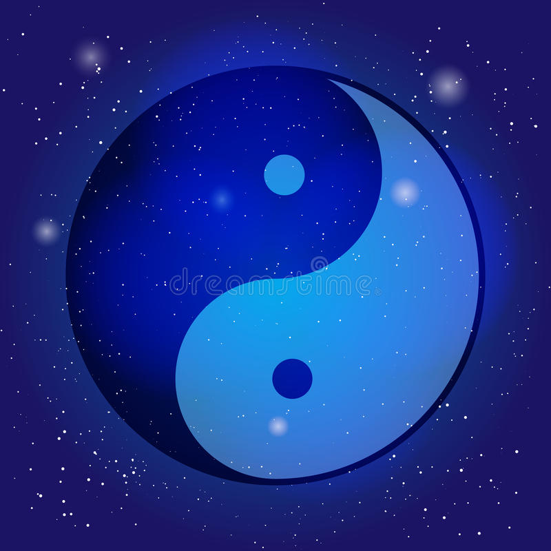 Symbol of yin and yang, the emblem of Taoism on the cosmic universe background. Design for meditation, spiritual. Geometry royalty free illustration