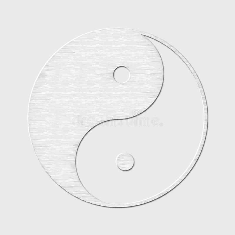Symbol of yin and yang, the emblem of Taoism made of paper. White design for meditation, spiritual geometry. stock illustration