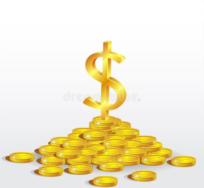 Symbol Złocisty Dolar z monetami ilustracji