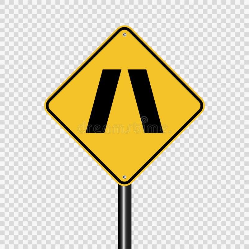 Symbol Zbliża się przesmyka mostu znaka na przejrzystym tle ilustracji