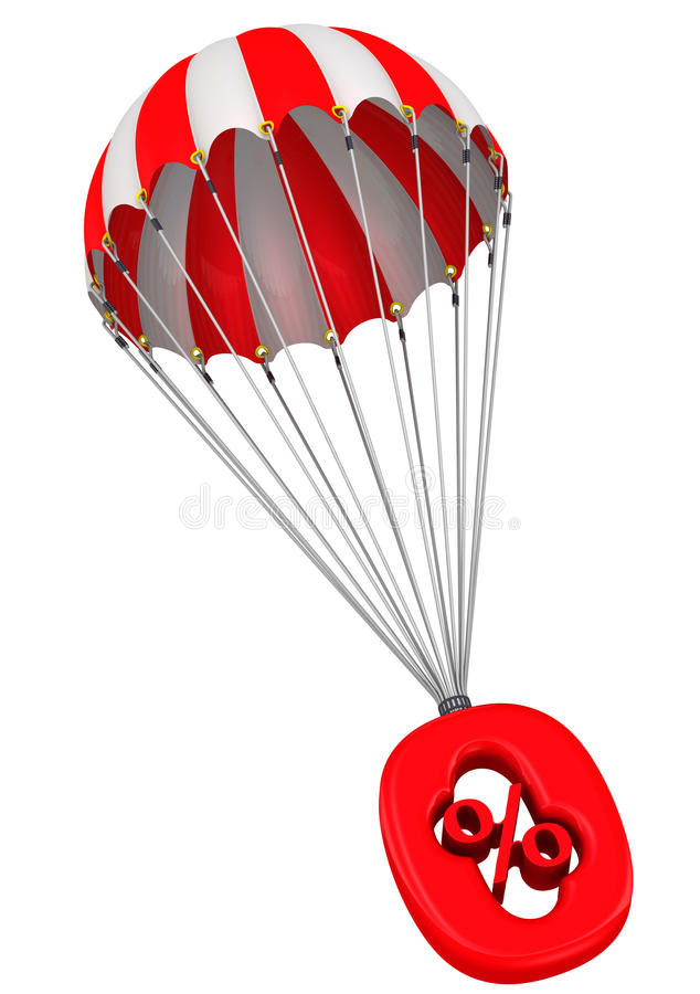 Symbol of zero percent on a parachute. The red zero percent sign is falling down on parachute. . 3D Illustration royalty free illustration