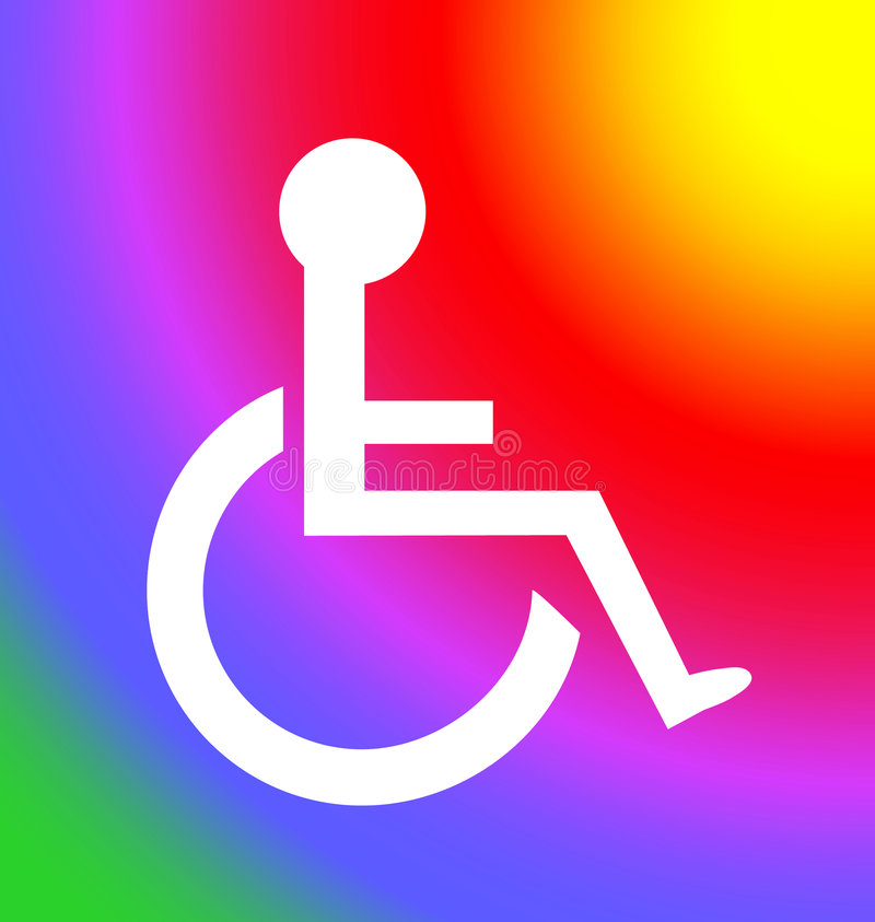 symbol zmiany osób niepełnosprawnych, słońce ilustracji