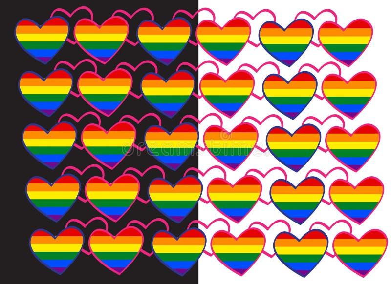 symbole à chaînes de coeur du drapeau LGBT d'arc-en-ciel de fond des gays et lesbiennes illustration de vecteur