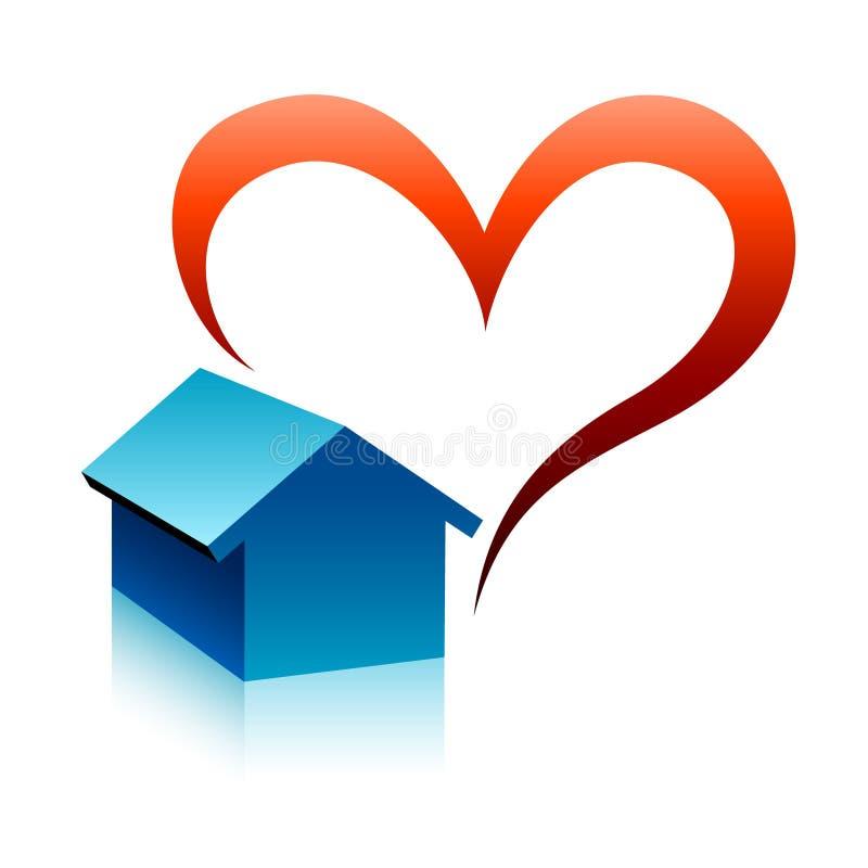 Symbole à la maison avec un coeur illustration stock