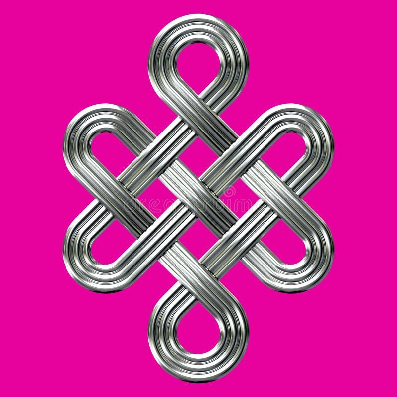 Symbole éternel argenté de charme de noeud illustration libre de droits