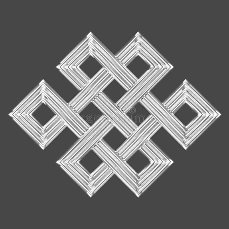 Symbole éternel argenté de charme de noeud illustration stock