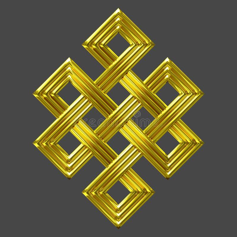 Symbole éternel de charme de noeud d'or illustration stock