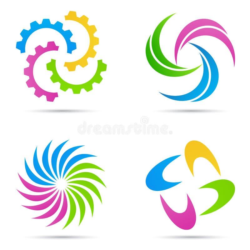 Symbole abstrait d'emblème de travail d'équipe d'éléments de logo de société illustration libre de droits