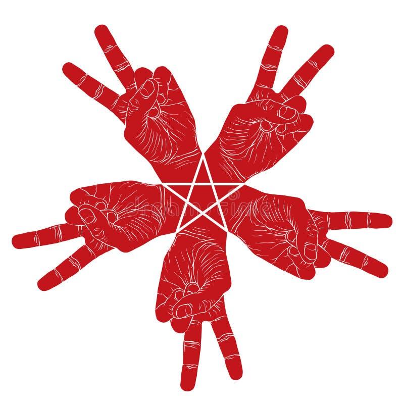 Symbole abstrait de cinq mains de victoire avec l'étoile pentagonale, vecteur illustration libre de droits