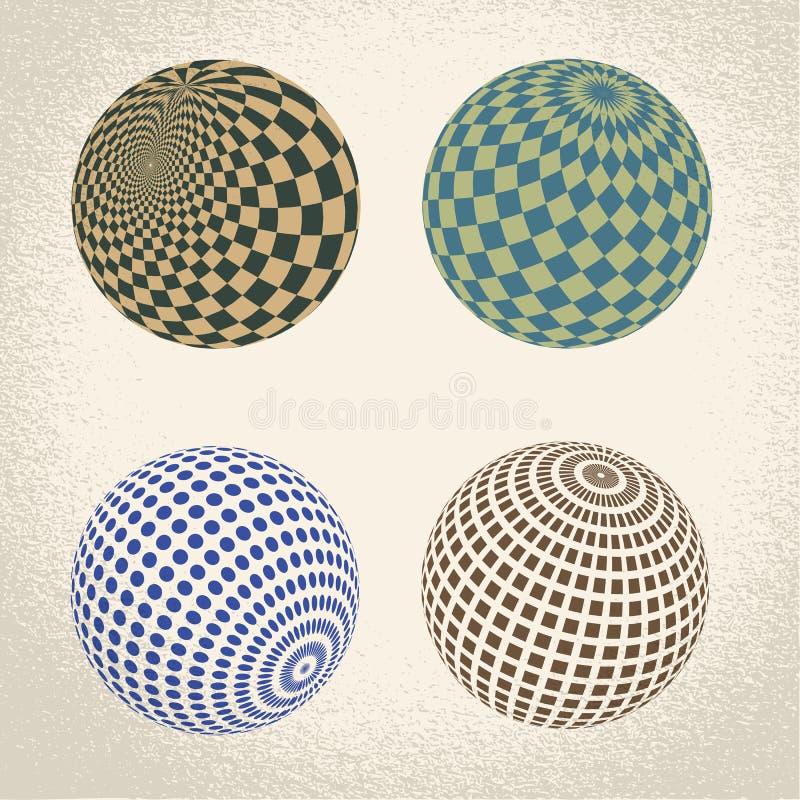 Symbole abstrait de globe, icône ronde illustration stock