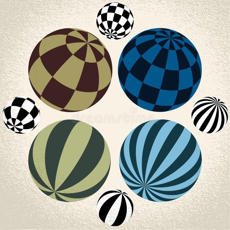 Symbole abstrait de globe, icône ronde illustration libre de droits