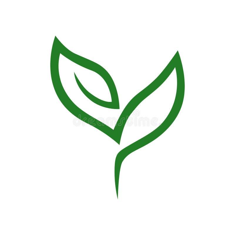 Symbole abstrait de jeune plante, icône sur le blanc illustration de vecteur