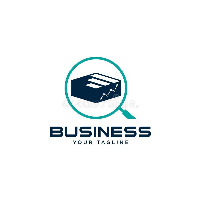 Symbole abstrait de logo d'affaires Symbole abstrait de logo d'affaires Statistiques avec le concept de logo d'icône de recherche illustration stock