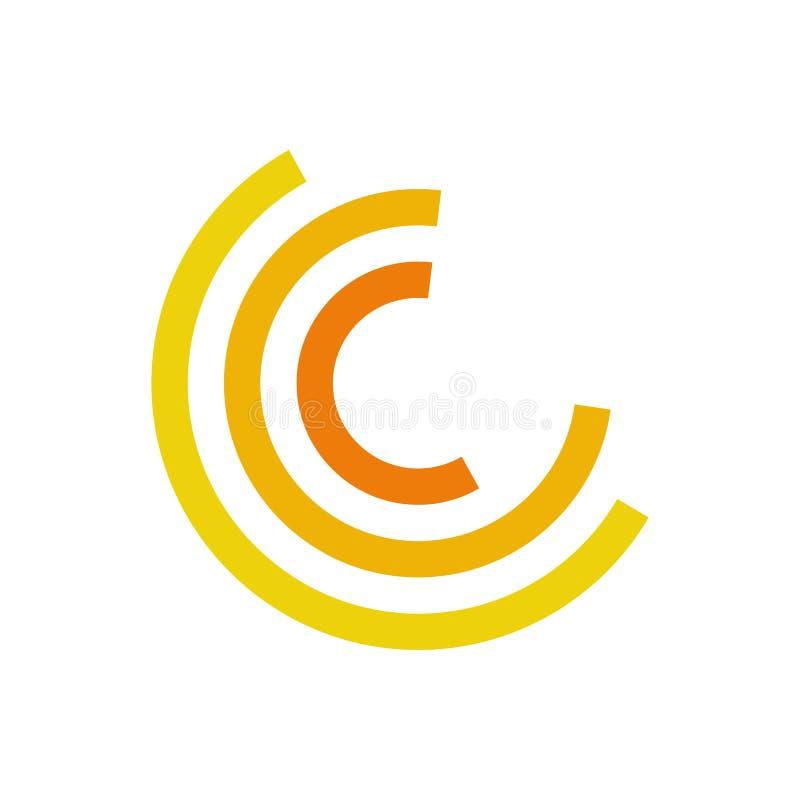 Symbole abstrait de mouvement jaune d'en demi-cercle illustration de vecteur