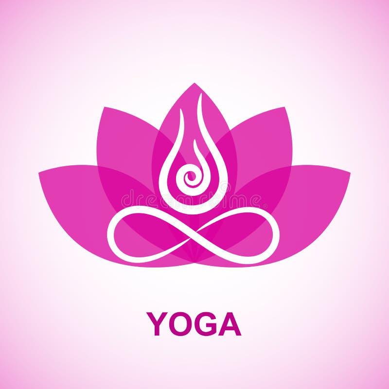 Symbole abstrait de yoga de découpe sur le fond transparent de fleur illustration de vecteur