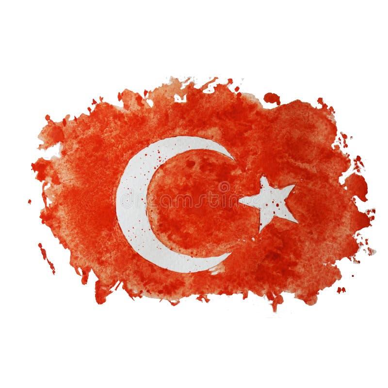 Symbole, affiche, bannière Turquie Carte de la Turquie avec la décoration du drapeau national Dessin d'aquarelle de style turc illustration de vecteur