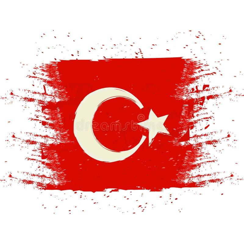 Symbole, affiche, bannière Turquie Carte de la Turquie avec la décoration du drapeau national Dessin d'aquarelle de style Vecteur illustration stock