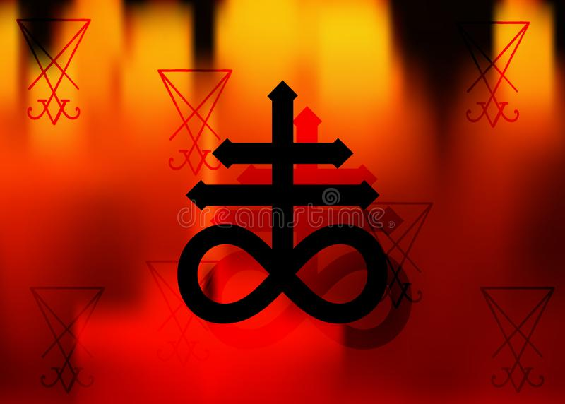 Symbole alchimique croisé de navire géant pour le soufre, lié au feu et au soufre de l'enfer Sigil de l'icône A de noir de vecteu illustration libre de droits
