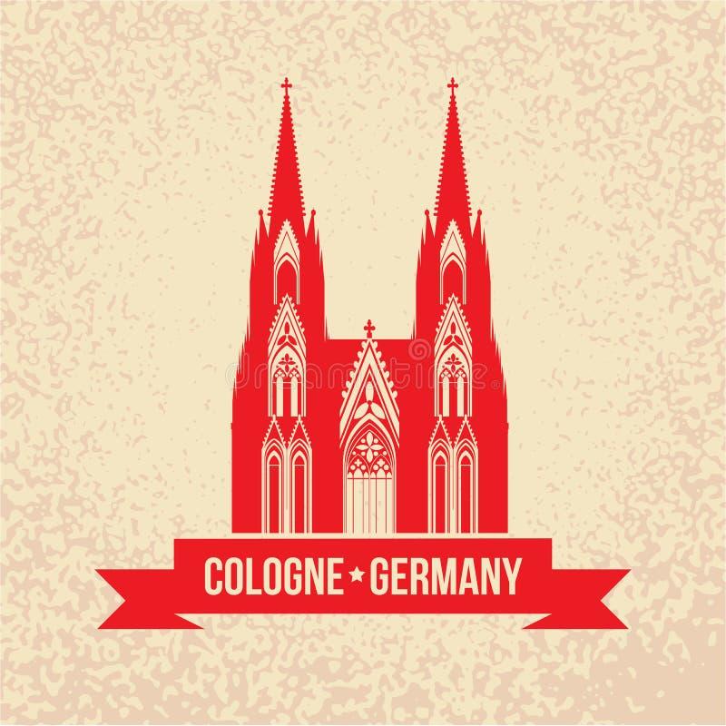 Symbole allemand de voyage de Cologne de ville illustration de vecteur