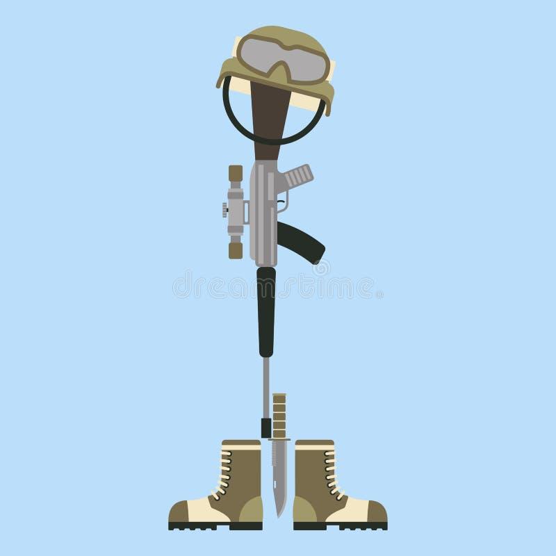 Symbole américain d'honneur de croix commémorative de champ de bataille d'un fusil moderne tombé M16 de guerre de soldat des USA  illustration libre de droits