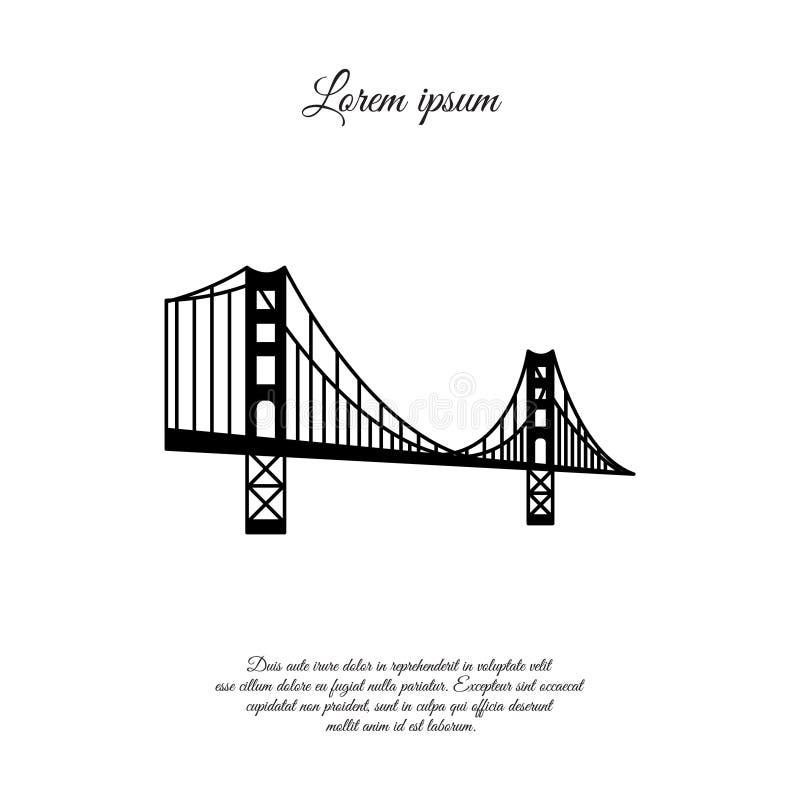 Symbole américain - Golden Gate Bridge Point de repère vectoriel isolé sur fond blanc San Francisco (États-Unis d'Amérique) Côté illustration libre de droits
