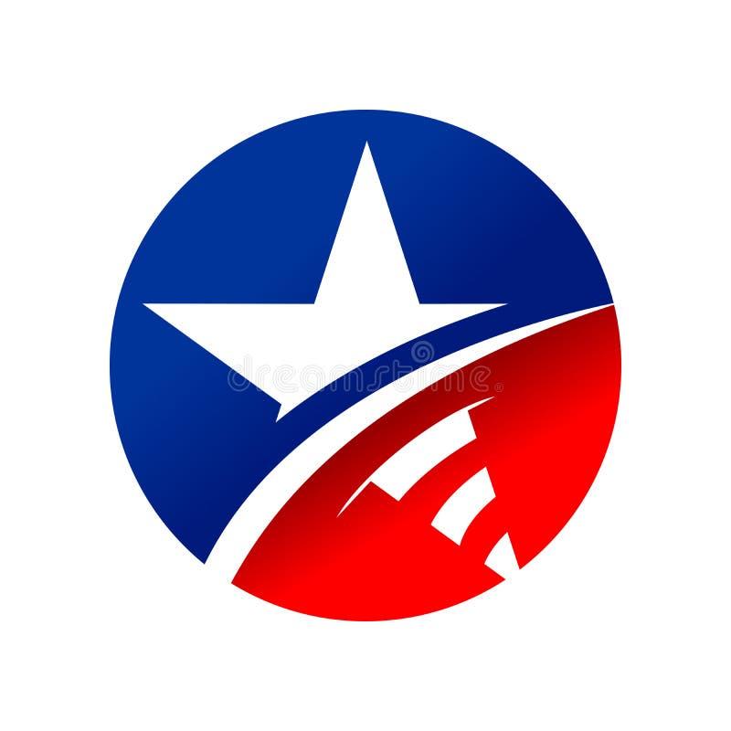 Symbole américain Logo Design de cercle d'étoile illustration de vecteur