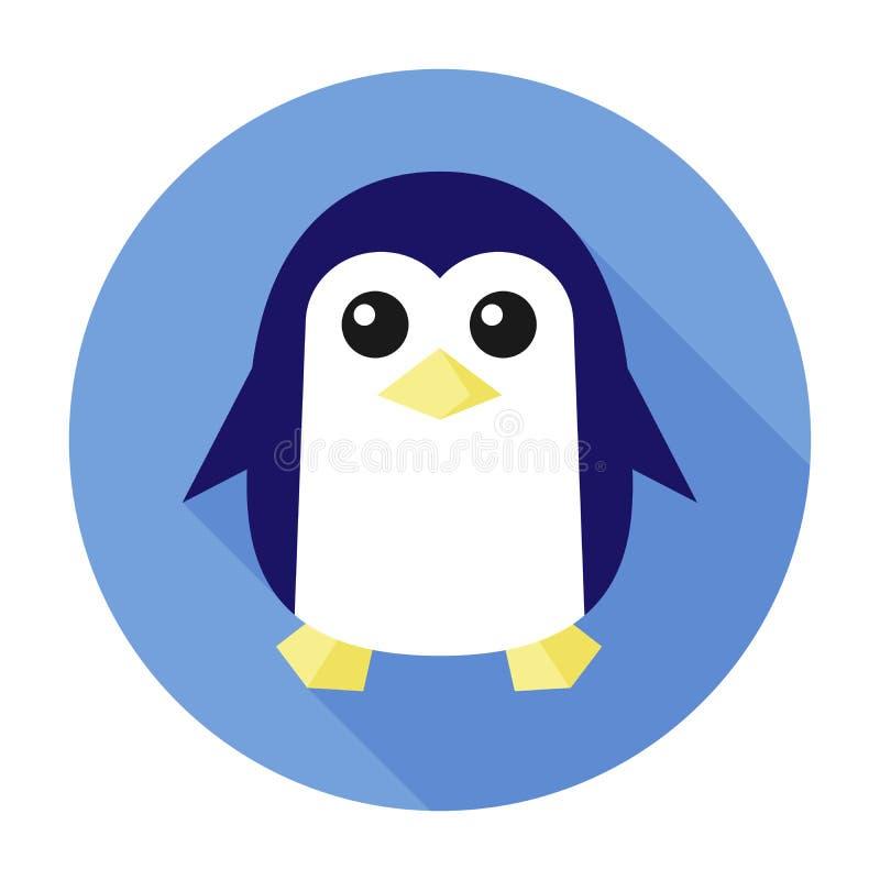 Symbole animal de logo d'icône de pingouin de signe plat de caractère, autocollant de zoo pour des enfants illustration libre de droits