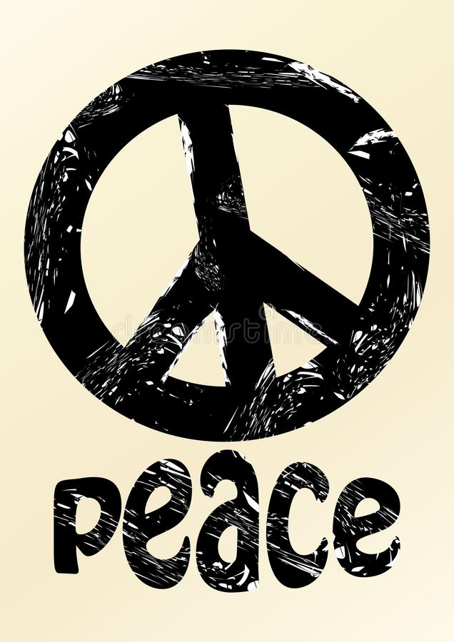 Symbole anti negro de la guerra en estilo del grunge con paz de la inscripción en fondo beige stock de ilustración