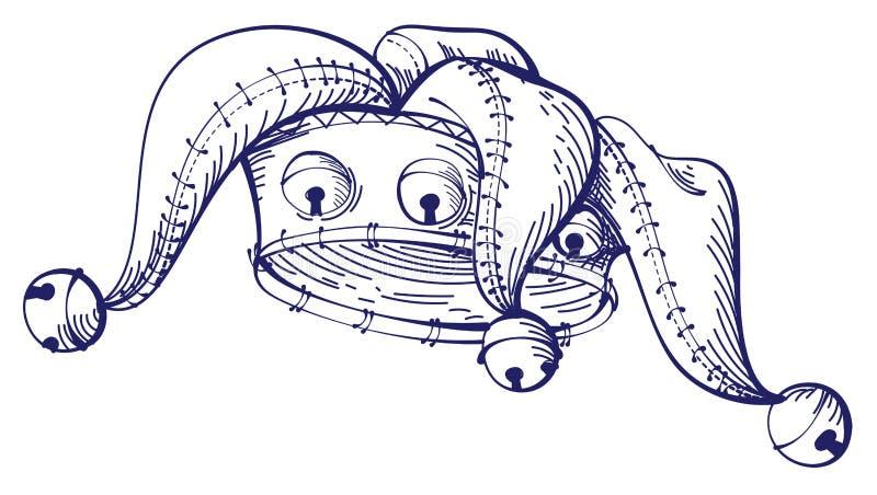 Symbole April Fools Day de couronne de clown de dessin de croquis illustration libre de droits