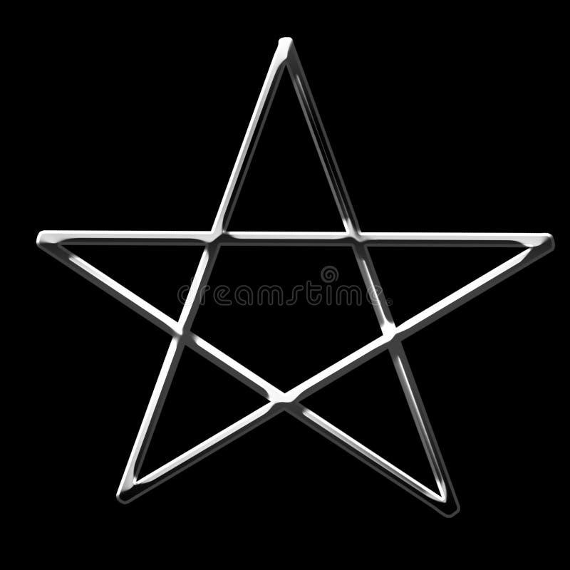 symbole argenté du pentagone étoilé 3d illustration stock