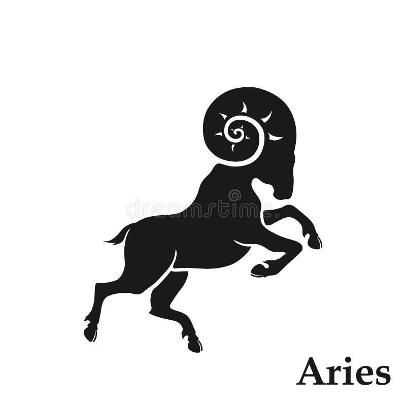 Symbole astrologique de signe de zodiaque de Bélier icône d'horoscope dans le style simple illustration libre de droits