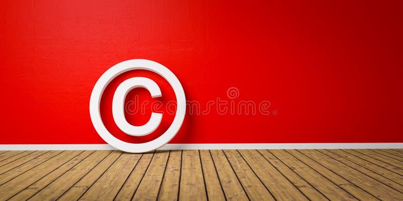 Symbole blanc de Copyright sur le maigre de plancher de Wodden sur le mur grunge rouge avec l'espace de copie - 3D-Illustration illustration stock