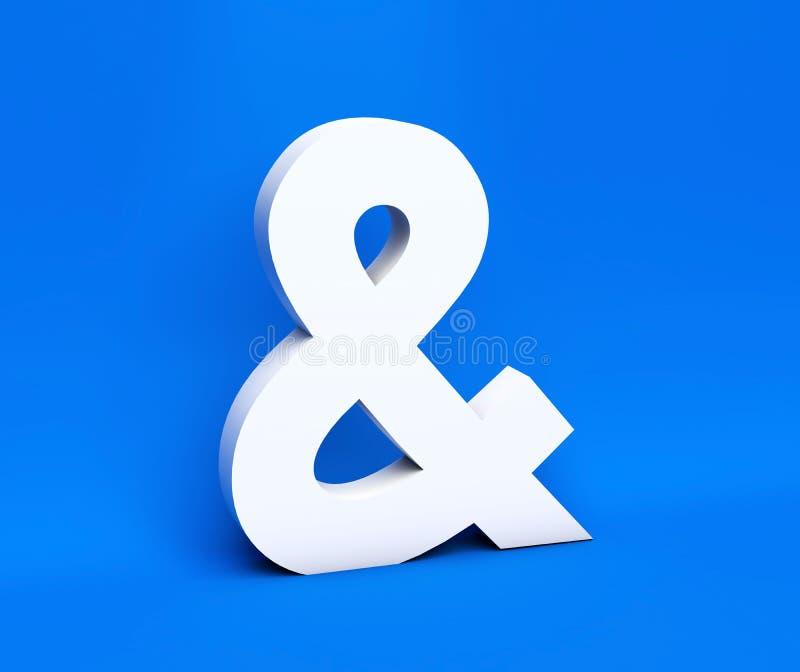 Symbole blanc et sur un fond bleu 3d rendent illustration libre de droits