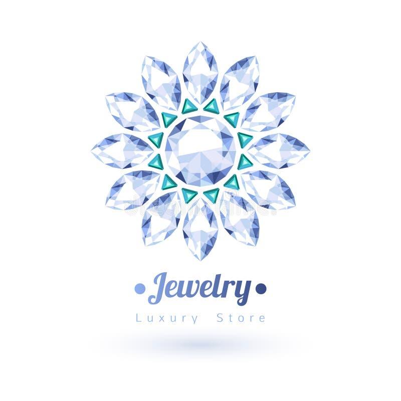 Symbole blanc et vert de bijoux de pierres gemmes Tenez le premier rôle la forme illustration stock